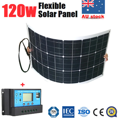 120W 12V Flexible Solar Panel Kit Caravan Boat 4WD Camping Battery Charging PWM