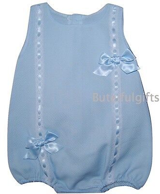 Baby Girls Spanish Blue Slotted Ribbon/Lace Bow Romper 0-3 3-6 6-12 12-18 Month