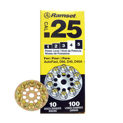 """Box of 10 #4 """"Yellow"""" 25 cal Round Disc Loads Ramset 4D60 New"""