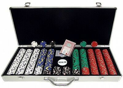 650-Ct Professional Poker Chip Set 13g Clay Casino Chips w/ Aluminum Case New