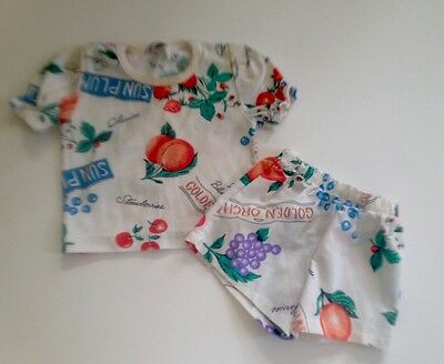 Cute Vintage 2T Girls & Boys 2 Piece Short and T Shirt Outfit Set by Picolo EUC