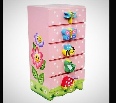 Chest of Drawers Pink Children Girls Bedroom Home Storage Playroom Furniture
