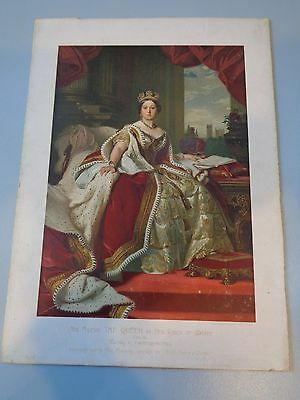 Antique Colour Print Of Queen Victoria F .winterhalter On Board