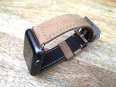 Quality Vintage Tan Brown Leather Watch Strap Band for Apple watch Series 3 42mm