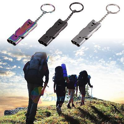 Double Tube Stainless Whistle Lifesaving Emergency SOS Outdoor Survival 150DB