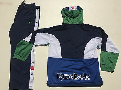 Vtg Reebok Track Suit Jacket & Pants Color Block Spell Out L Adidas Kappa Nike