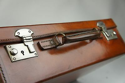 Antique Tan Leather Attache Briefcase In superb Condition with Key