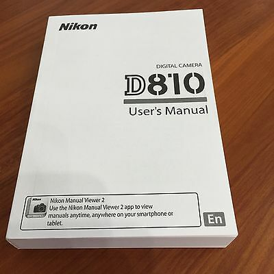 Nikon D810 Digital Camera User's Manual Guide Book Brand New. Never Used
