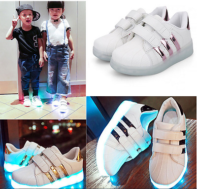 7 COLORS LED USB Charge Kids Boys Girls Light Up Sneakers Flat Shoes Trainers