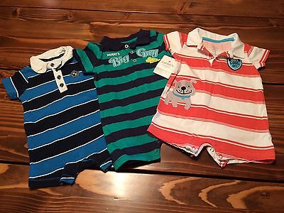 Lot of 3 Baby Boy Short All / Rompers, size 12 months - 1 is NWT! Summertime!