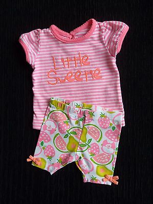 Baby clothes GIRL newborn 0-1m outfit bright pink/white stripe top/fruit legging
