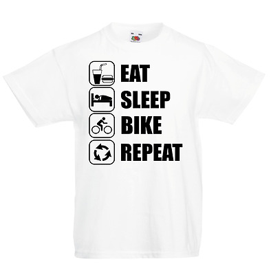 Eat Sleep Bike Repeat Kid's T-Shirt Children Boys Girls Unisex Top Bicycle