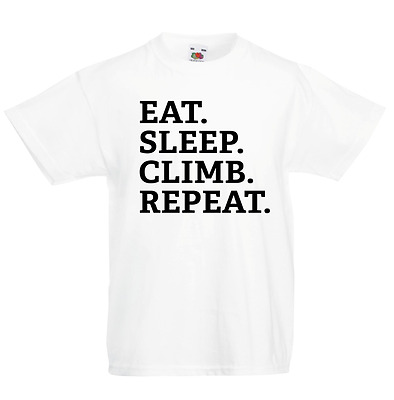 Eat Sleep Climb Repeat Kid's T-Shirt Children Boys Girls Unisex Top Climbing
