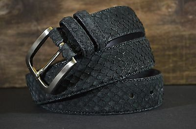 Cinturon Hombre 35Mm Cuero Genuina Piel Python Nubuk Black Belt Ma Leather Spain