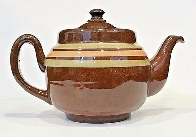 ALB Alcock Lindley & Bloore England Brown Betty Striped Teapot/Coffee 3 Cup