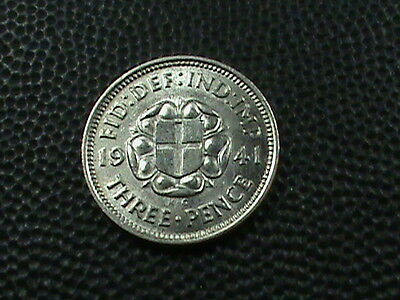 GREAT BRITAIN   3  Pence  1941  BRILLIANT UNCIRCULATED  ,  SILVER