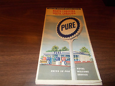 1957 Pure Oil North and South Carolina Vintage Road Map