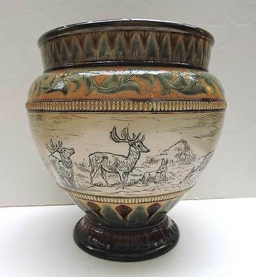 Large HANNAH BARLOW Doulton Lambeth Jardinier with Stag and Deer -  dates 1883