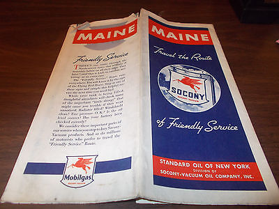 1938 Mobil Maine Vintage Road Map