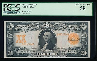 AC Fr 1183 1906 $20 Gold Certificate PCGS 58