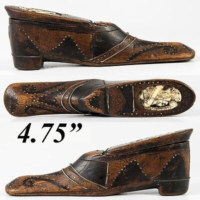 Antique French Carved Shoe or Boot Snuff Box, Pique, Carved Portrait, c. 1700