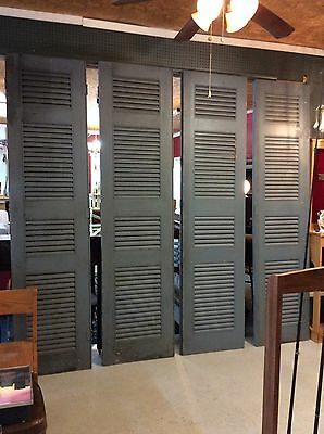 8 ft Tall Vtg Salvaged Wood Louvered Shutter Plantation Doors Set Of 4
