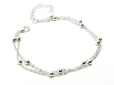 Ankle Bracelet Double Anklet Chain Beaded Ladies Girls Beach Summer Silver Tone