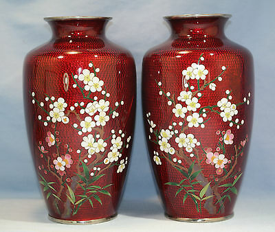 Japanese Pigeon Blood Red Enamel Inaba School Pair of Cloisonne Vases Circa 1930