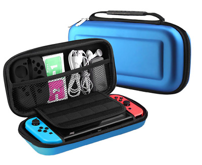 BLUE -Hard Protective Carry Case Cover With Zip For Nintendo SWITCH Console Game