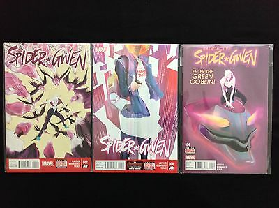 SPIDER-GWEN Lot of 3 Marvel Comic Books - Vol 1 #2 4, Vol 2 #4!
