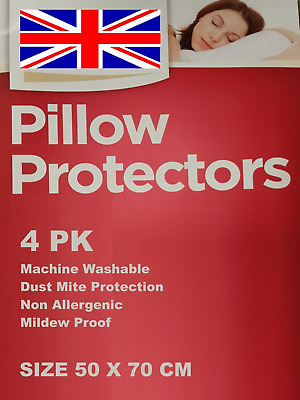 4 Quality Pillow Guard / Cover Protectors, Dust Mite Proof, Anti Allergy