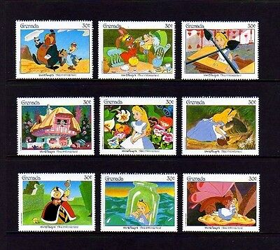 Grenada - 1987 - Disney - Alice In Wonderland - Fairy Tales - 9 X Mint  Mnh Set!
