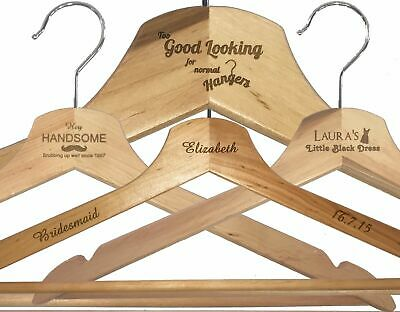 Personalised Engraved Wooden White / Brown Hangers, Gift, Any Engraving/Occasion