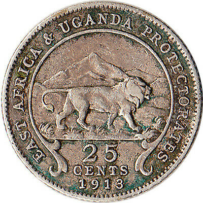 1913 East Africa & Uganda 25 Cents Silver Coin KM#10 Mintage 300,000