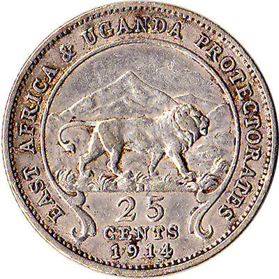 1914 East Africa & Uganda 25 Cents Silver Coin KM#10 Scarce Mintage 80,000