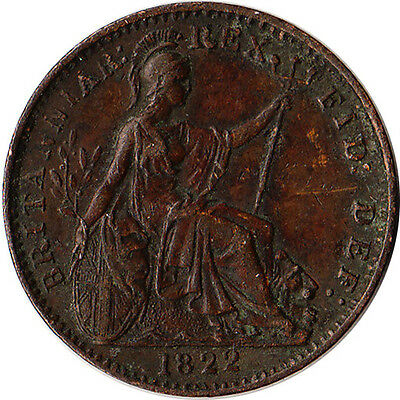 1822 Great Britain (UK) 1 Farthing Coin George IV KM#677