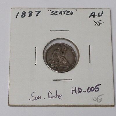 #350 - Half Dime - 1837 Seated Small Date XF to AU