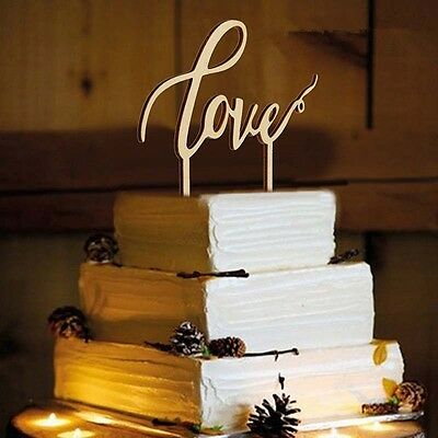WEDDING CAKE TOPPER Love Wooden Rustic Elegant Party Decoration Bride Bridal