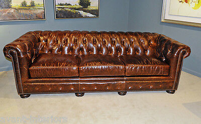 New English Restoration Hardware Styl Top Grain Leather Chesterfield Sofa Couch