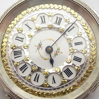 Antique  Fancy Late 1800s Swiss Hallmarked Fine Silver Applied Gold Dial  LAYBY