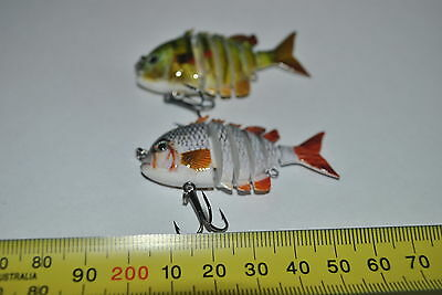 2 x5.5cm MULTI JOINTED SWIMBAIT TROUT RED FIN, BREAM, FLATHEAD & all Saltwater