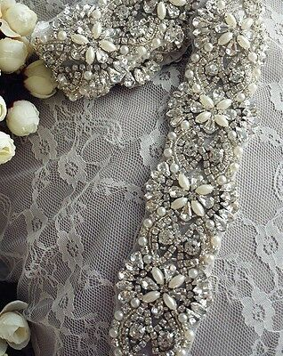Wedding Dress Sash Belt - Crystal Pearl Sash Belt = 16.5 INCH LONG