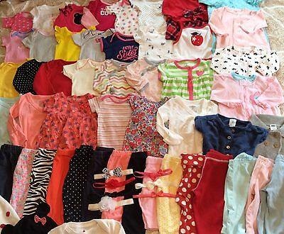 Great Lot Of Baby Girl Clothes 64 Pieces 0-3 3-6 Months