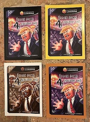 2017 50th Anniversary Wacky Packages DONAL TRUMP RESIDENT EVIL ALL 4 Colors