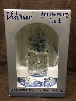 """Waltham """"Dolphins"""" Anniversary Clock w/Westminster Chime - Porcelain Base & Dial"""