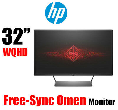 "HP 32"" Omen W9S97AA QHD Gaming LED Monitor 2560x1440 Free-Sync DP HDMI USB VESA"