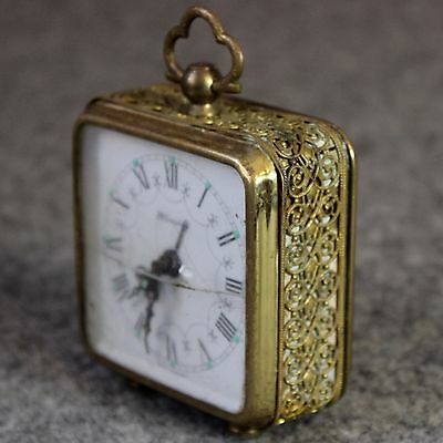 Alarm Clock Vintage West Germany Blessing Decorated Brass Square Parts / Repair