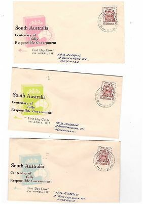 Australia 1957 4d Responsible Govt on ROYAL FDCs     ( 3 Covers )