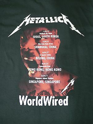 Metallica Official Worldwired Asia 2017 T-Shirt Large Rare
