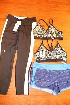 Lot 4 Womens Under Armour Coldgear Pants Nike Dri-Fit Shorts Sports Bras Xl Nwt